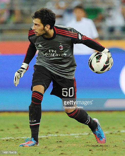 Edoardo Pazzagli of Milan in action during the match between FC Internazionale Milano and AC Milan as part of the TIM preseason tournament at Stadio...