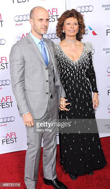 Edoardo Ponti and mom actress Sophia Loren arrive at AFI FEST 2014 Presented By Audi A Special Tribute To Sophia Loren at Dolby Theatre on November...