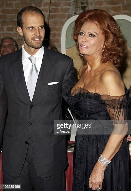 Edoardo Ponti and Sophia Loren during 2002 Venice Film Festival Sophia Loren Receives the the Premio Bianchi Award at Excelsior Hotel in Venice Lido...