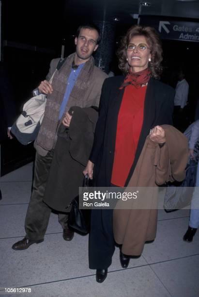 Edoardo Ponti and Sophia Loren during Sophia Loren Sighting Leaving LAX for New York March 2 1998 at Los Angeles International Airport in Los Angeles...