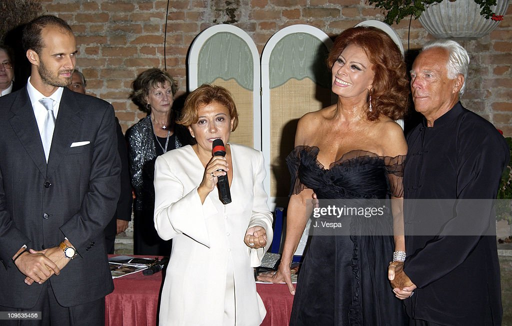 Edoardo Ponti, Sophia Loren and Giorgio Armani during 2002 Venice Film Festival - Sophia Loren Receives the the 'Premio Bianchi' Award at Excelsior Hotel in Venice Lido, Italy.