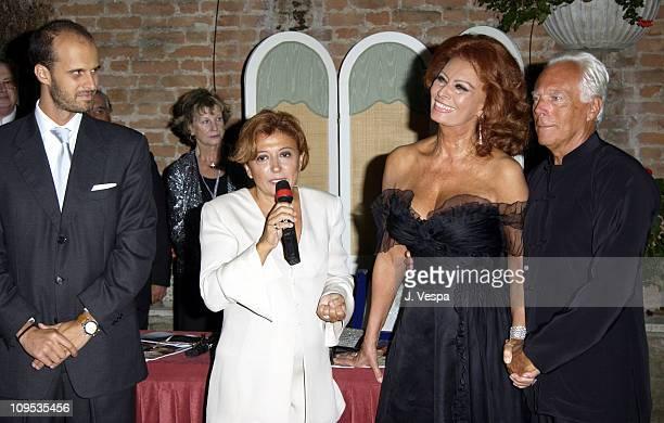 Edoardo Ponti Sophia Loren and Giorgio Armani during 2002 Venice Film Festival Sophia Loren Receives the the Premio Bianchi Award at Excelsior Hotel...