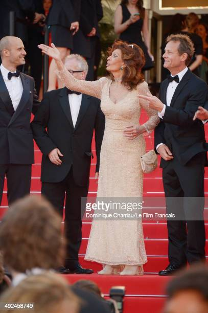 Edoardo Ponti Thierry Frémaux Sophia Loren and William Goodrum attend Voce Umana Premiere during the 67th Annual Cannes Film Festival on May 20 2014...