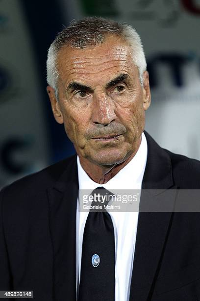 Edoardo Reja head coach of Atalanta BC looks on during the Serie A match between Empoli FC and Atalanta BC at Stadio Carlo Castellani on September 24...