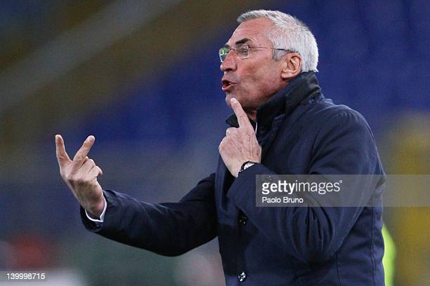 Edoardo Reja the coach of SS Lazio reacts during the Serie A match between SS Lazio and ACF Fiorentina at Stadio Olimpico on February 26 2012 in Rome...