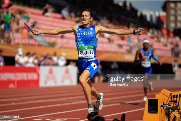 Edoardo Scotti of Italy crosses the finish line to win Italy gold in the final of the men's 4x400m relay on day six of The IAAF World U20...