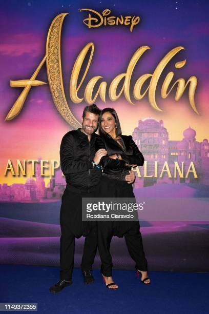 Edoardo Stoppa and Juliana Moreira attend the Aladdin photocall and red carpet at The Space Cinema Odeon on May 15 2019 in Milan Italy