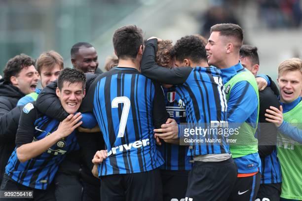 Edoardo Vergani of FC Internazionale celebrates after scoring a goal during the Viareggio Cup Final match between FC Internazionale U19 and ACF...