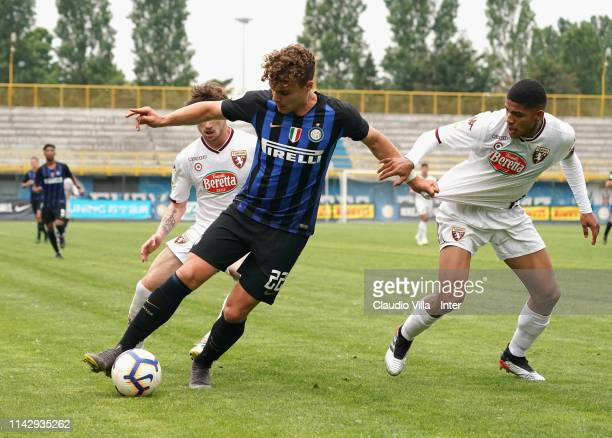 Edoardo Vergani of FC Internazionale in action during the Serie A Primavera match between FC Internazionale U19 and Torino FC U19 at Stadio Breda on...