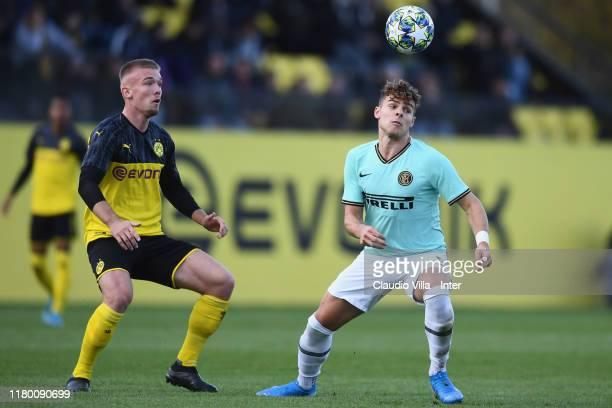 Edoardo Vergani of FC Internazionale in action during the UEFA Youth League match between Borussia Dortmund U19 and Inter Mailand U19 on November 5...