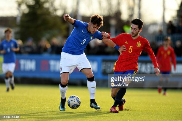 Edoardo Vergani of Italy in action during the U17 International Friendly match between Italy and Spain at Juventus Center Vinovo on January 17 2018...