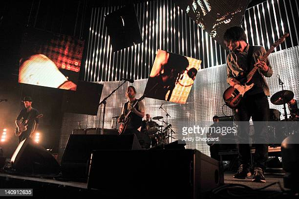 Ed'O'Brien Thom Yorke Phil Selway Colin Greenwood Jonny Greenwood and Clive Deamer of Radiohead performs on stage at The Frank Erwin Center on March...