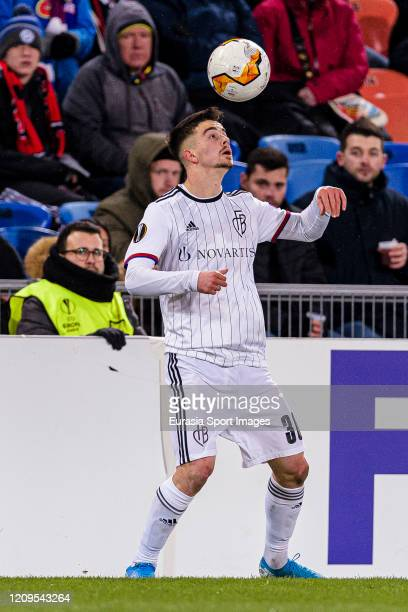 Edon Zhegrova of Basel controls the ball during the UEFA Europa League round of 32 second leg match between FC Basel and APOEL Nikosia at St...