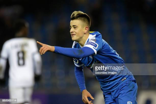 Edon Zhegrova of Genk celebrates 10 during the Belgium Pro League match between Genk v KAS Eupen at the Cristal Arena on December 9 2017 in Genk...