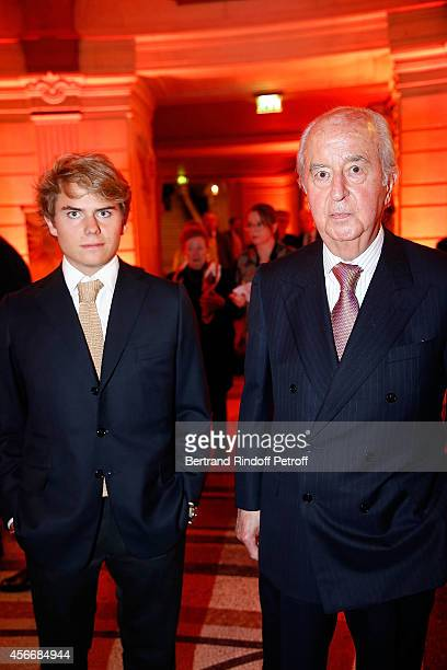Edouard Balladur with his Grand Son Louis attend for the tribute to Brigitte Lefevre on October 4 2014 in Paris France