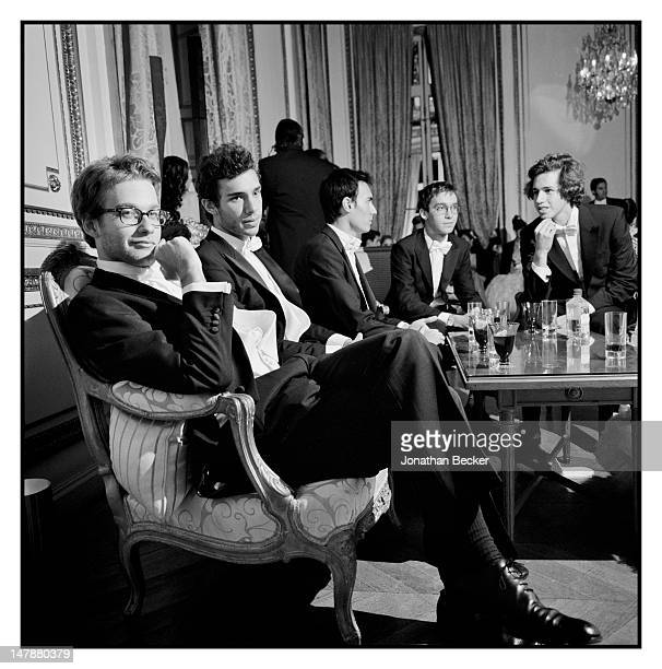 Edouard Chasteland Samuel Belfond Ken Foulfoin and Milan Orban are photographed at the Crillon Debutante Ball for Vanity Fair Magazine on November 26...