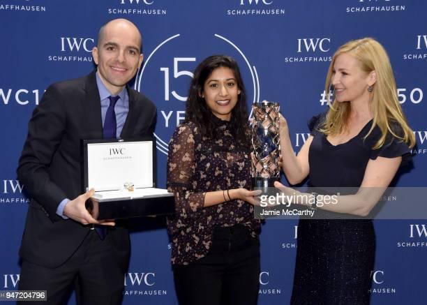 Edouard dArbaumont and Jennifer Westfeldt present Sonejuhi Sinha with the IWC Filmmaker Award at the IWC Tribeca Film Festival Filmmaker Award...