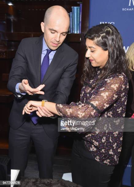 Edouard dArbaumont presents Sonejuhi Sinha with her new IWC Portofino watch at the IWC Tribeca Film Festival Filmmaker Award Celebration on April 16...