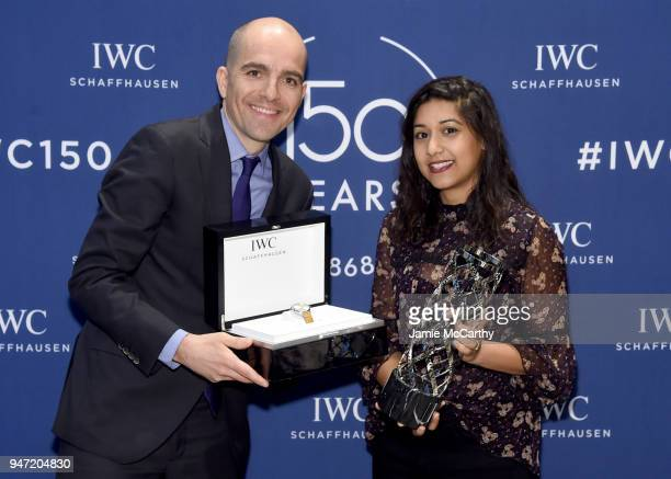 Edouard dArbaumont presents Sonejuhi Sinha with the IWC Filmmaker Award at the IWC Tribeca Film Festival Filmmaker Award Celebration on April 16 2018...
