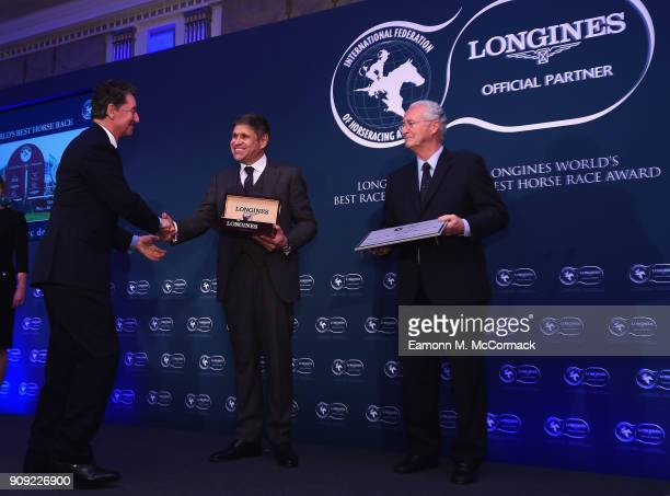 Edouard de Rothschild President of France Galop receives the Longines Longines World's Best Horse Race Award from Mr JuanCarlos Capelli Vice...