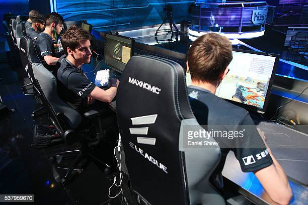 Edouard Dubourdeaux gamertag 'SmithZz' of G2 Esports warms up prior to the match against Ninjas in Pyjamas at the ELeague Arena at Turner Studios on...
