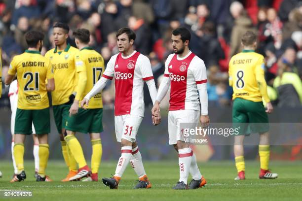 Edouard Duplan of ADO Den Haag Tyronne Ebuehi of ADO Den Haag Danny Bakker of ADO Den Haag Nico Tagliafico of Ajax Amin Younes of Ajax Aaron Meijers...