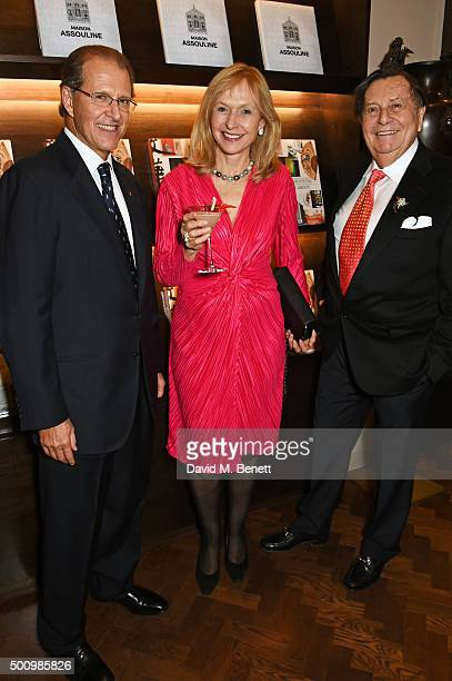 Edouard Ettedgui, Group Chief Executive of Mandarin Oriental Hotel Group, Lizzie Spender and Barry Humphries attend a champagne reception to...