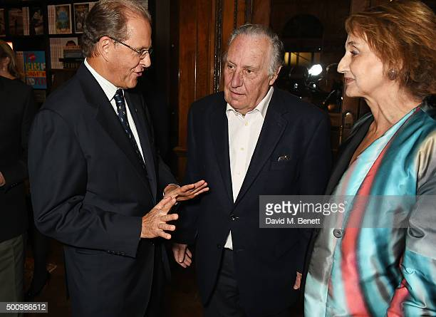 Edouard Ettedgui Group Chief Executive of Mandarin Oriental Hotel Group Frederick Forsyth and Sandy Molloy attend a champagne reception to celebrate...
