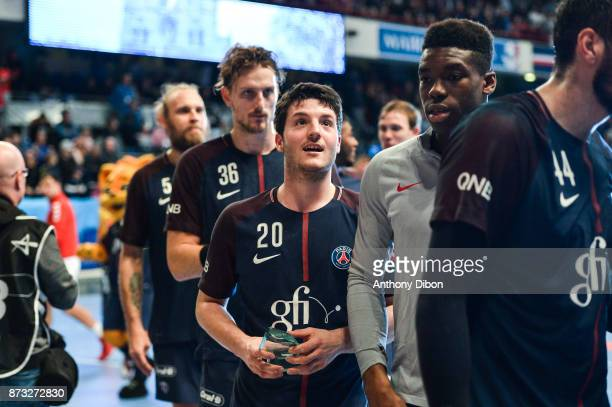 Edouard Kempf of PSG celebrates the victory during the Champions League match between Paris Saint Germain and Veszprem on November 12 2017 in Paris...