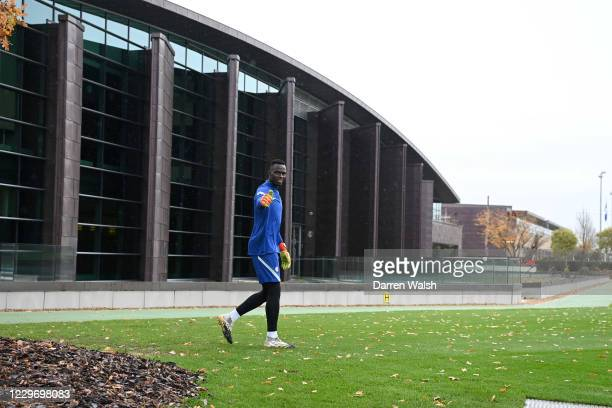 Edouard Mendy of Chelsea before a training session at Chelsea Training Ground on November 20, 2020 in Cobham, United Kingdom.