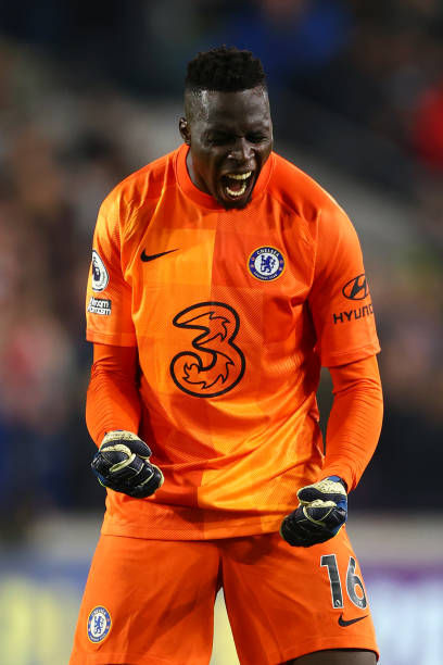 Edouard Mendy of Chelsea celebrates after his sides victory in the Premier League match between Brentford and Chelsea at Brentford Community Stadium...