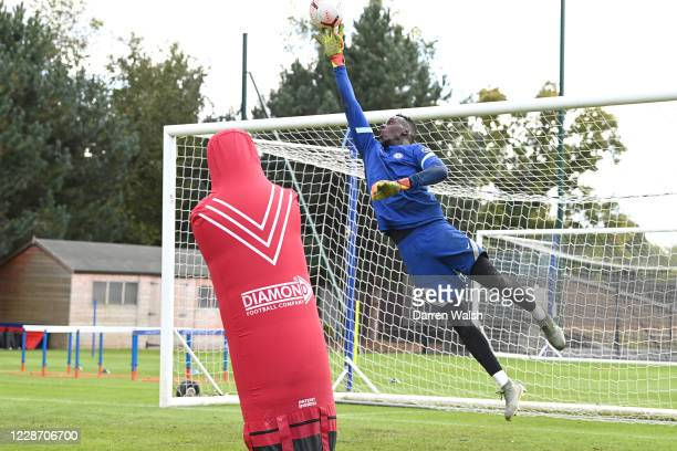 Edouard Mendy of Chelsea during an individual training session at Chelsea Training Ground on September 25, 2020 in Cobham, England.