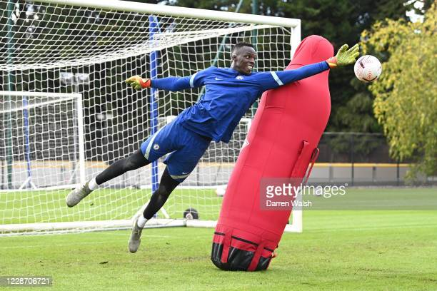 Edouard Mendy of Chelsea during an individual training session at Chelsea Training Ground on September 25 2020 in Cobham England