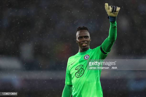 Edouard Mendy of Chelsea during the UEFA Champions League group H match between Chelsea FC and Malmo FF at Stamford Bridge on October 20, 2021 in...