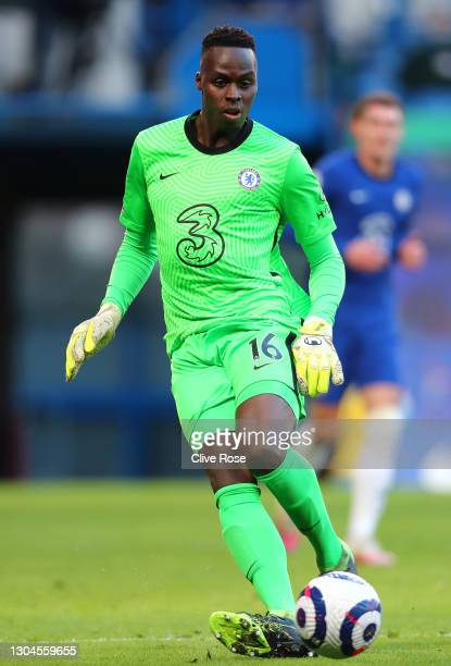 Edouard Mendy of Chelsea looks for a pass during the Premier League match between Chelsea and Manchester United at Stamford Bridge on February 28,...