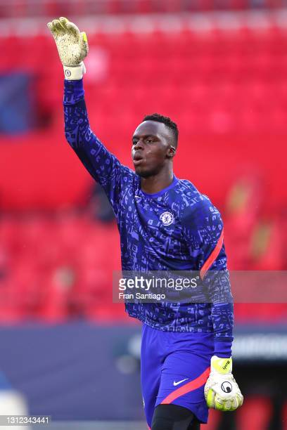 Edouard Mendy of Chelsea warms up prior to the UEFA Champions League Quarter Final Second Leg match between Chelsea FC and FC Porto at Estadio Ramon...