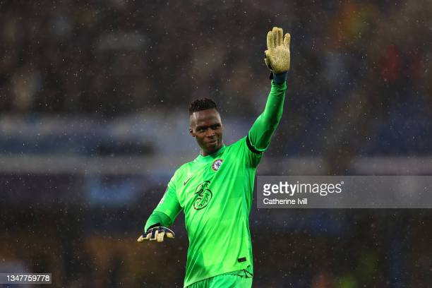 Edouard Mendy of Chelsea waves to the crowd at full-time after the UEFA Champions League group H match between Chelsea FC and Malmo FF at Stamford...