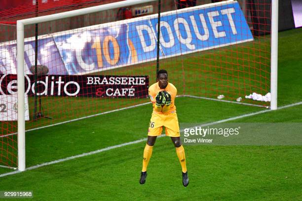 Edouard Mendy of Reims during the French Ligue 2 match between Reims and Chateauroux at Stade Auguste Delaune on March 9 2018 in Reims France