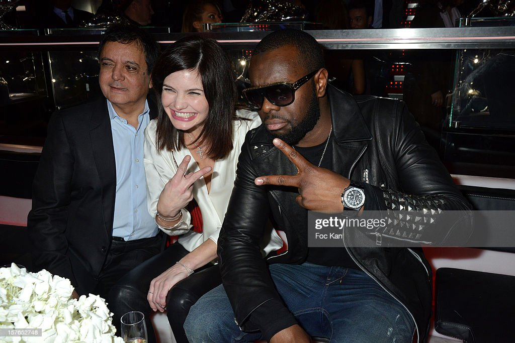 Edouard Nahum, Delphine Chaneac and Maitre Gims from Sexion d'Assaut band attend the Jeweler Edouard Nahum 'Maya' New Collection Launch Party at La Gioia on December 4, 2012 in Paris, France.