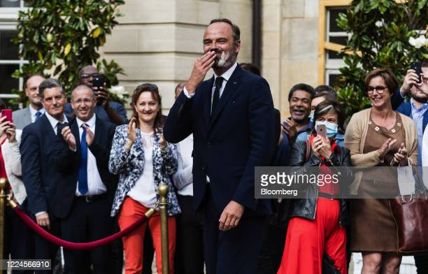 Edouard Philippe France's former prime minister reacts during a handover ceremony at the Hotel de Matignon the official residence of the French prime...