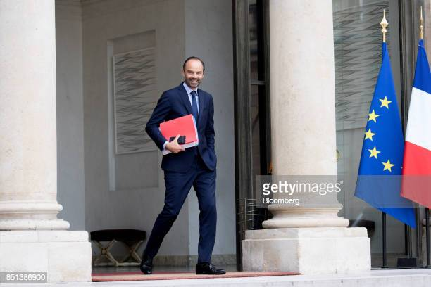 Edouard Philippe France's prime minister reacts as he departs following a cabinet meeting to approve labor law reforms at the Elysee Palace in Paris...