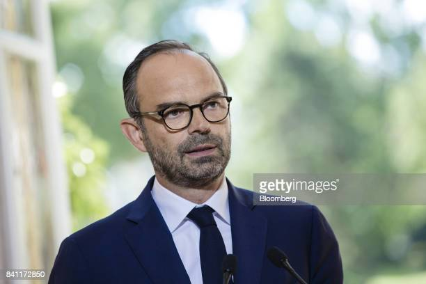 Edouard Philippe France's prime minister speaks during a news conference at his official residence in Paris France on Thursday Aug 31 2017 Philippe...