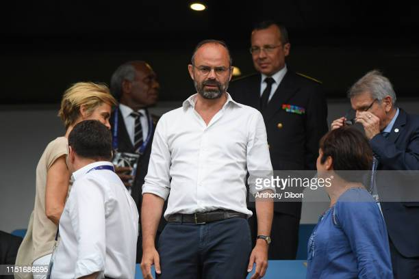 Edouard Philippe prime minister during the Women's World Cup match between France and Brazil at Stade Oceane on June 23 2019 in Le Havre France