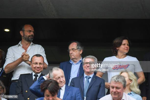 Edouard Philippe Prime Minister Noel Le Graet president of Football French Federation and Roxana Maracineanu Sport Minister during the Women's World...