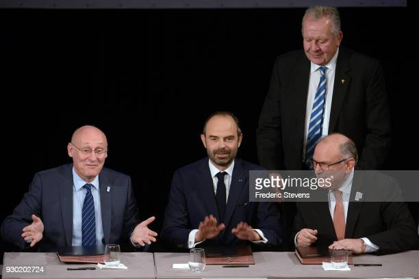 Edouard Philippe prime minister of France Bernard Laporte president of the french rugby union and Bill Beaumont Chairman of World rugby and Jeam...