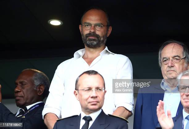 Edouard Philippe Prime Minister of France looks on prior to the 2019 FIFA Women's World Cup France Round Of 16 match between France and Brazil at...