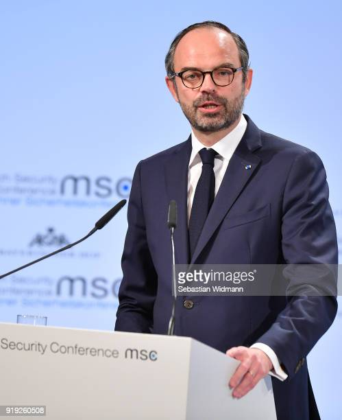 Edouard Philippe Prime Ministers of France delivers a speech at the 2018 Munich Security Conference on February 17 2018 in Munich Germany The annual...