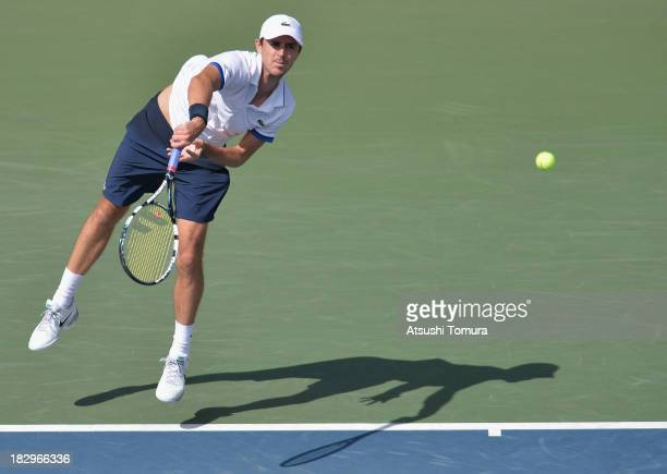Edouard RogerVasselin of France in action during men's second round singles match against Lukas Lacko of Slovakia during day four of the Rakuten Open...
