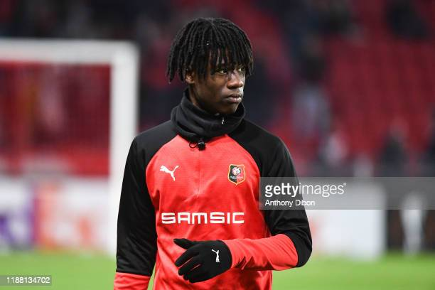 Edouardo CAMAVINGA of Rennes during the Europa League match between Rennes and Lazio Rome at Roazhon Park on December 12 2019 in Rennes France