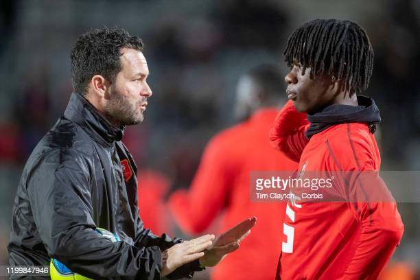 Edouardo Camavinga of Rennes receives instructions during team warm up before the Nimes Olympique V Stade Rennes French Ligue 1 regular season match...